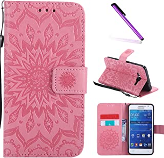 Galaxy Grand Prime Case,G530 Case,LEECOCO Fancy Embossed Floral Wallet Case with Card / Cash Slots PU Leather Flip Stand Case Cover for Samsung Galaxy Grand Prime LTE G530 Mandala Pink