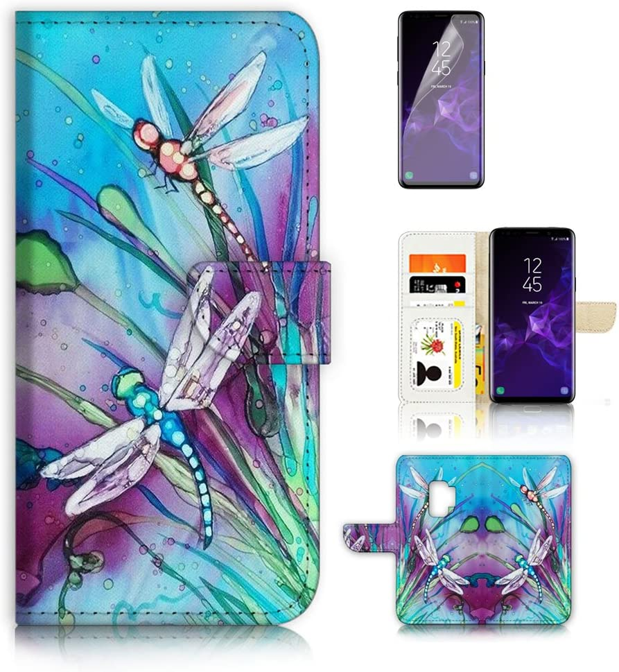 (for Samsung Galaxy S9) Flip Wallet Case Cover & Screen Protector Bundle - A21094 Dragonfly