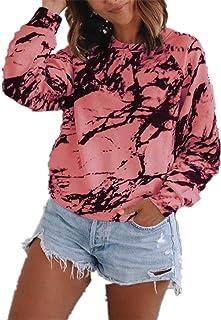 zxb-shop Women Tie Dye Long Sleeve Crewneck Sweatshirt Casual Loose Tops Shirts Blouse Color Block Tunic Tops Tee