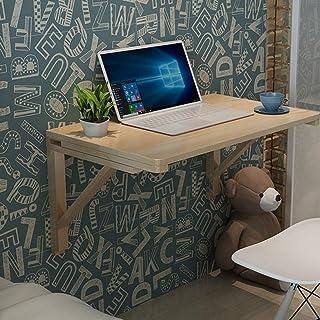 طاولة قابلة للطي للتعليق على الحائط مع حامل عائم، طاولة قابلة للطي متعددة الوظائف من الخشب الصلب، السُمك بعد الطي هو 10 سم...
