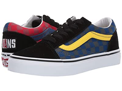 Vans Kids Old Skool (Little Kid/Big Kid) ((OTW Rally) Checker/Multi/Black) Boys Shoes
