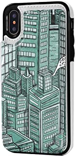 Kuzhuaitui Manhattan iPhone X/XS Wallet Case with Card Holder Premium PU Leather Double Magnetic Clasp and Durable Slim Shockproof Cover for iPhone X/XS 5.8 Inch
