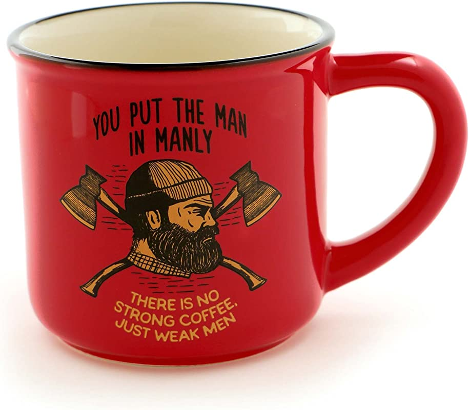 Enesco 6000123 Our Our Name Is Mud For Men Lumberjack Stoneware Coffee Mug 16 Oz Red