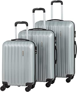 """Murtisol Travel 3 Pieces ABS Luggage Sets Hardside Spinner Lightweight Durable Spinner Suitcase 20"""" 24"""" 28"""", 3PCS Silver"""