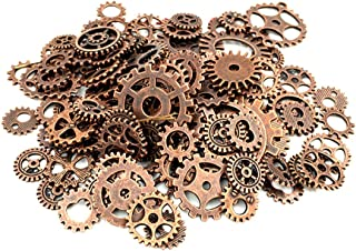 Y&Y Star 100 Gram approx 70pcs-90pcs Assorted Antique Bronze Alloy Round Clock Steampunk Gears Charms Pendant Clock Watch Wheel Gear for Crafting, Jewelry Making Accessory (Red Copper)