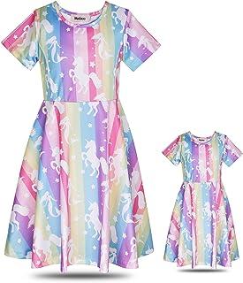 فساتين ModaIOO للفتيات بأكمام قصيرة، طباعة عادية ملابس لعب مطابقة للدمى وملابس الفتيات