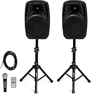 Costzon Active Speaker System, All-in-one PA System Set Professional DJ Amplified Loud Speakers Powered Speakers with Bluetooth, USB SD Card Input, MP3 FM Radio (2-Way)