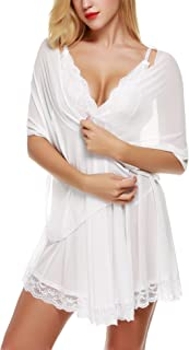 Avidlove Women 3 Pieces Set V-Neck Lingerie Lace Babydoll Mesh Chemise Outfits