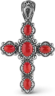 Sterling Silver Multi Gemstone Choice of 6 Different Colors Cross Pendant Enhancer