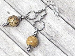Orecchini da donna in acciaio inossidabile con anelli e perle di diaspro marrone