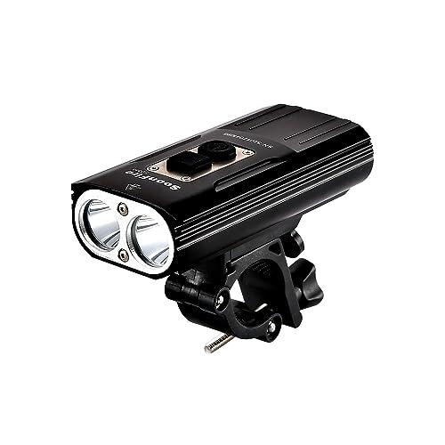 soonfire FD38S Phare à vélo'Lampe de vélo Super-Brillante Rechargeable Via USB'2*LED CREE XM-L2 de 1870 Lumens avec Une portée Efficace de 167m'étanche'assemblage/désassemblage Simple