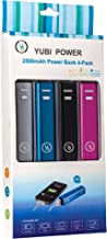 Yubi Power - Family Pack - YP250A 2500mah Ultra Compact Lipstick Size Portable Power Bank Backup External Battery Charger for iPhone, iPad, iPod, Samsung, Motorola, LG, HTC and many other Smartphones / Tablets / MP3 Players / E-Readers - [Stylish and Tiny 3.70 X 0.86 X 0.86 Inch Dimensions] 4 Colors (4 - Pack)