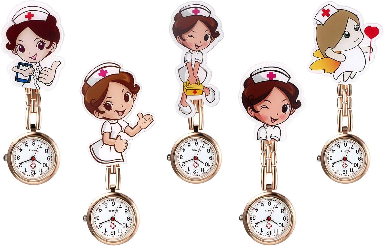 Avaner - Juego de 5 Relojes de Enfermera, para Enfermera, médico, paramédico, Broche de Broche, Broche de Metal, con Pin/Clip,Regalo para Enfermera Médico