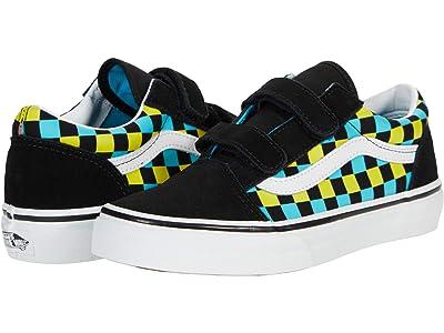 Vans Kids Old Skool V (Big Kid) ((Neon Glow Check) Black/Multi) Boys Shoes