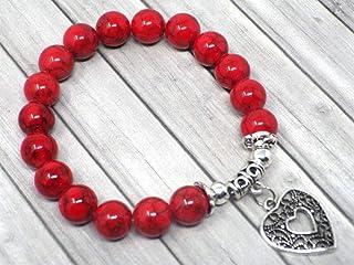 Bracciale da donna in perle di turchese rosso con pendente in argento placcato in filigrana a forma di cuore