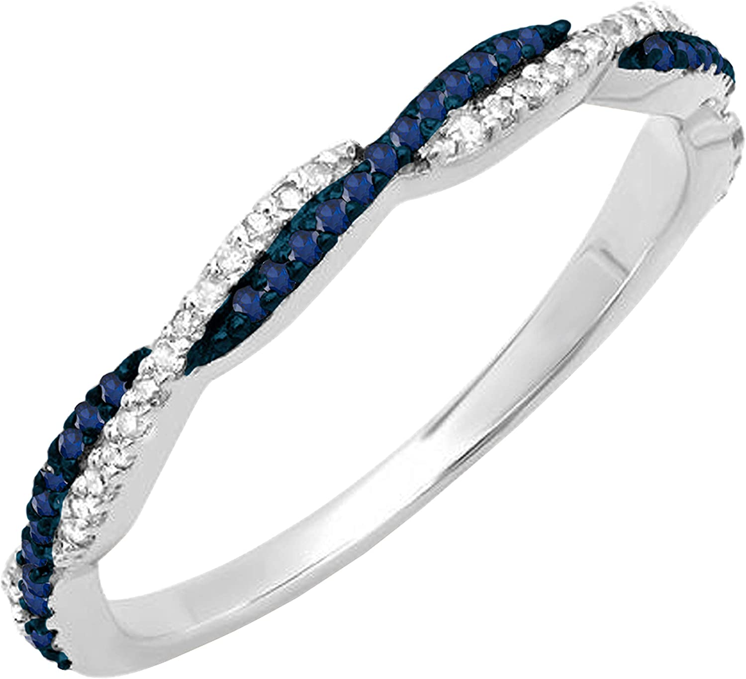 Dazzlingrock Collection Round Blue Sapphire & White Diamond Ladies Anniversary Swirl Stackable Wedding Band, Available in Metal 10K/14K/18K Gold