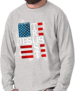 Trust Jesus USA America Flag Christian Long Sleeve T Shirt