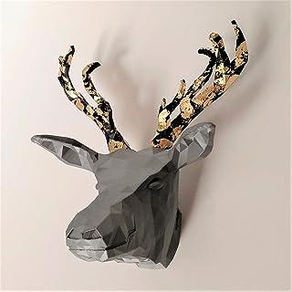 testa di cervo cornuto in metallo dorato con gancio e magneti, origami, 3D, decorazioni da parete, decorazioni natalizie, ...