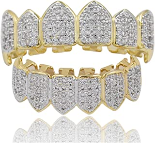 18K Gold Plated Joker Fully Iced Out CZ Diamond Vampire Top and Bottom Face Grills for Your Teeth with Extra Molding Bars