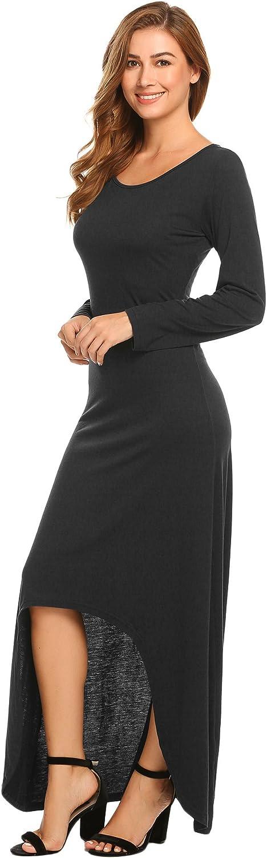 BEAUTYTALK Women's Casual Long Sleeve HighLow Hem Fitted Swing Long Maxi Dress
