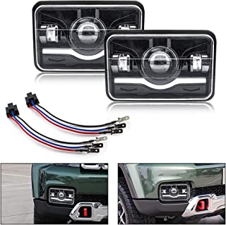 Dot 4X6 LED Headlight Square SAFEGO 2Pcs Sealed Beam 75W 7500Lm Hi/Low w/H4 Wiring Harness Headlamp Projector for Jeep Wrangler Cherokee YJ XJ MJ Comanche Toyota Nissan 240SX Offroad Headlamp