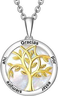 ENGSWA Collar Personalizable Mujer Plata de Ley 925 Colgante Árbol de la Vida Familiar Grabado de Nácar Regalo para Madre ...