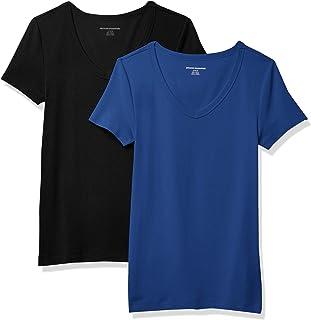 Amazon Essentials Damen Kurzärmeliges T-Shirt Mit V-Ausschnitt, Schmale Passform