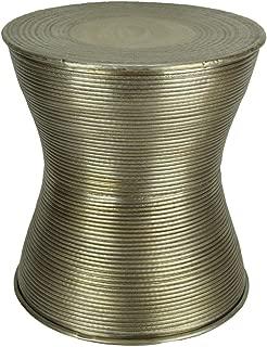 Zeckos Antique Brass Hammered Finish Indoor/Outdoor Aluminum Accent Stool/Drum Table