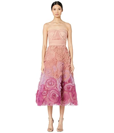 Marchesa Notte Strapless Ombre Tulle Tea Length Gown (Blush) Women