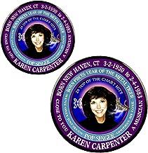 Karen Carpenter 70's Singer Magnet + Pin, Astrology Pisces Zodiac Metal Tiger