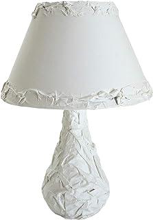 Chrisell Decor Oggetti d'Arte - Lampada da Tavolo Decorazione Arte Materica Gesso su Vetro abat jour da atmosfera Bianco A...