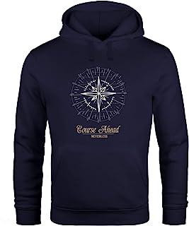 Neverless Hoodie Herren Kompass Windrose Navigator Segeln Kapuzenpullover Sweater Männer