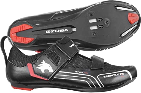 Venzo Bicycle Bike Cycling Triathlon Shoes Compatible with Shimano SPD SL Look Black 48