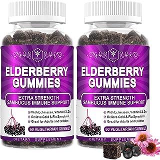 2 Pack Sambucus Elderberry Gummies for Kids Adults Black Elderberry Supplement with Echinacea - Immune Support Boost Gummy...