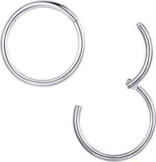 316l Surgical Steel Hinged Nose Rings Hoop 20G 18G 16G 14G 12G 10G,Diameter 5mm to 14mm,Color Gold-Rose Gold-Silver-Black Septum Clicker Segment Lip Ear Cartilage Daith Earrings