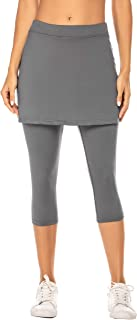 Ekouaer Womens Running Tight Skirted Leggings Skorts Capris Gym Yoga Pants