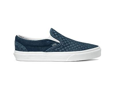 Vans Classic Slip-Ontm ((Emboss Mini Check) India Ink/True White) Skate Shoes