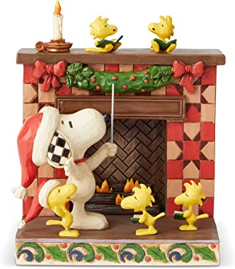 Enesco Peanuts by Jim Shore Snoopy at Fireplace Figurine, 5.75 Inch, Multicolor