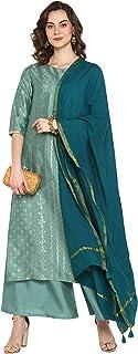 Janasya Indian Women's Light Green Poly Silk Kurta with Palazzo and Dupatta
