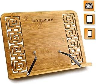 Joyoldelf Bambú soporte para Libro de cocina, plegable soporte con Respaldo ajustable & Patrón elegante para Libro de cocin y Receta, iPad Air 2 3 4, Encender, Samsung y Tablet PC y más
