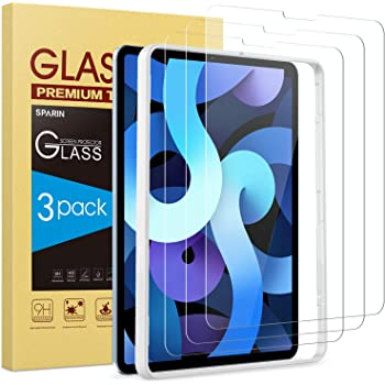SPARIN [3 Pack] Screen Protector Compatible with iPad Air 4 2020 / iPad Pro 11 2020, Tempered Glass Compatible with iPad Air 4th Generation 10.9 inch with Alignment Frame