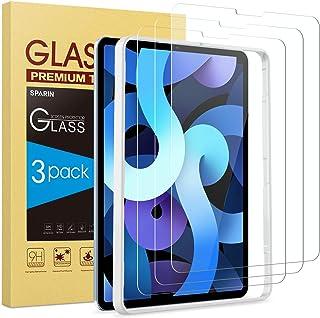 واقي شاشة SPARIN [3 حزم] لجهاز iPad Air 4 2020 / iPad Pro 11 2020، زجاج مقوى لجهاز iPad Air الجيل الرابع 11 بوصة مع إطار م...