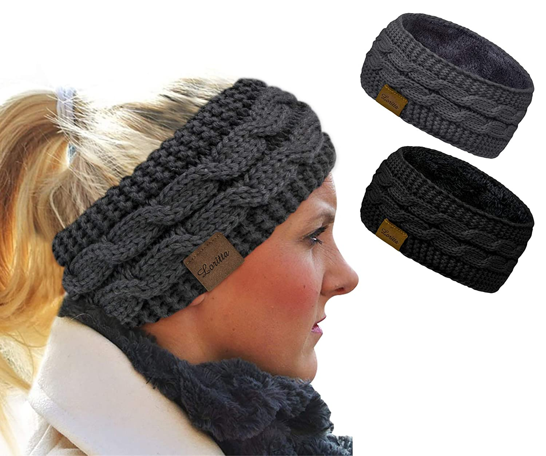 Loritta 2 Pack Headbands for Women Winter Warm Cable Knit Ear Warmer Thick Head Wrap Fuzzy Fleece Lined Gifts,Black+Grey
