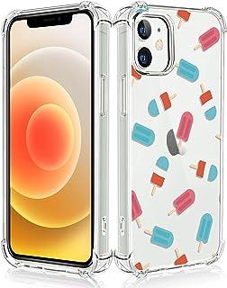 LuGeke 高耐衝撃 iPhone 12 用ケース iPhone 12Pro 用ケース 高透明 滑り止め 軽量 薄型 衝撃吸収エアバッグ 軽量 薄型 すり傷防止 ストラップホール Qi充電 カバー アイスクリーム