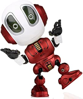 Alagoo Kids Talking Robot Toys, Repeats Your Voice Mini Robots for Boys / Girls with Posable Body, Colorful Flashing Lights and Cool Sounds Robot Interactive Toy (Red)