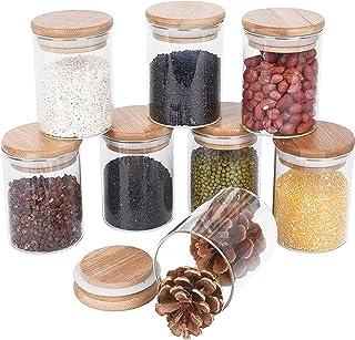 Annfly Lot de 8 bocaux de rangement en verre avec couvercles en bambou hermétiques pour aliments, céréales, thé, herbes, p...