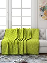Saral Home Soft Cotton Unique Firki Design Tufted Throw Sofa Cover (140x210cm, Green)