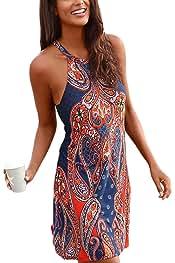 Happy Sailed Women Halter Neck Boho Print Sleeveless Casual Mini Beachwear  Dress Sundress 14cd05d16831