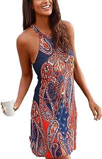 5eed5cdb786 Happy Sailed Women Halter Neck Boho Print Sleeveless Casual Mini Beachwear  Dress Sundress