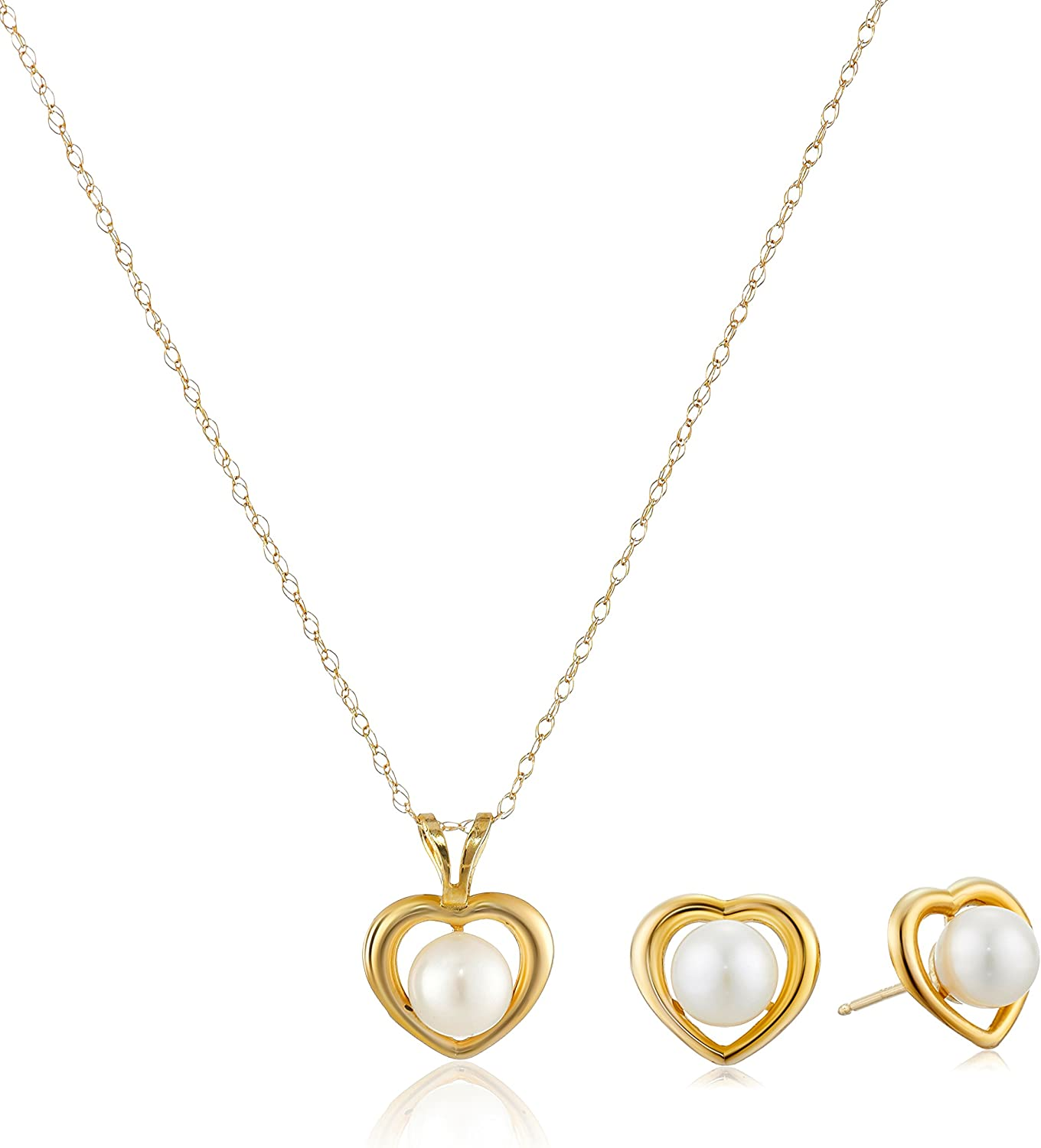 Heart Shape 14k 5-6mm White Cultured Freshwater Pearl Pendant Necklace and Stud Earrings Jewelry Set